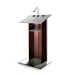 K2 Contemporary Mahogany Wood and Aluminum Full Floor Lectern with Shelf and Wheels - K2MW-V18