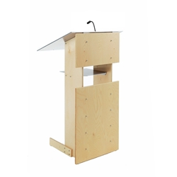 Y1 Contemporary Natural Wood and Aluminum Full Floor Lectern with Shelf
