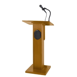 Elite Full Height Floor Lectern with Sound System and Oak Finish Amplivox,S355Medium Oak