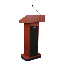 Executive Sound Column Full Floor Lectern with Mahogany Finish Amplivox,S505MH