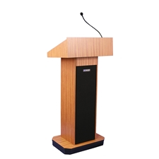 S505 - Executive Sound Column Full Floor Lectern with Medium Oak Finish Amplivox,S505MO