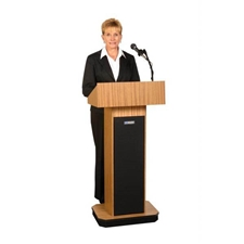 SW505 - Executive Wireless Sound Column Full Floor Lectern with Medium Oak Finish Amplivox,SW505MO