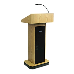 S505 - Executive Sound Column Full Floor Lectern with Light Oak Finish Amplivox,S505LO