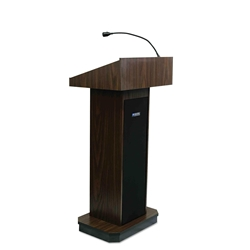 Executive Sound Column Full Floor Lectern with Walnut Finish Amplivox,S505WT