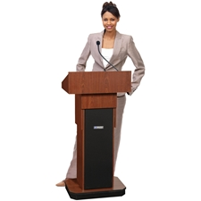 S505A - Adjustable Height Executive Sound Column Full Floor Lectern with Mahogany Finish Amplivox,S505AMH