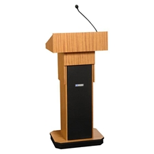 S505A - Adjustable Height Executive Sound Column Full Floor Lectern with Light Oak Finish Amplivox,S505ALO