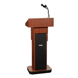 Adjustable Height Executive Sound Column Full Floor Lectern with Mahogany Finish Amplivox,S505AMH