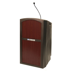 Pinnacle Rugged Plastic Full Floor Lectern with Gooseneck Mic and Mahogany Panels Amplivox,ST3250Mahogany