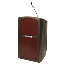 ST3250 - Pinnacle Rugged Plastic Full Floor Lectern with Gooseneck Mic and Mahogany Panels Amplivox,ST3250Mahogany