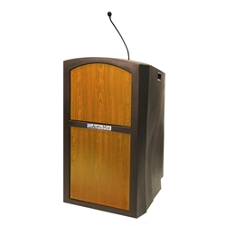 Pinnacle Rugged Plastic Full Floor Lectern with Gooseneck Mic and Medium Oak Panels Amplivox,ST3250Medium Oak