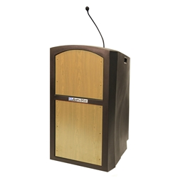Pinnacle Rugged Plastic Full Floor Lectern with Gooseneck Mic and Maple Panels Amplivox,ST3250Maple