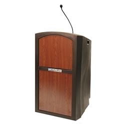 Pinnacle Rugged Plastic Full Floor Lectern with Gooseneck Mic and Cherry Panels Amplivox,ST3250Cherry