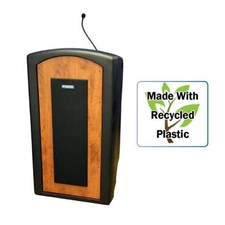 SW3250 - Pinnacle Rugged Plastic Floor Lectern with Wireless Sound System and Mahogany Panels