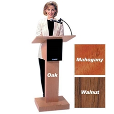 SW505A - Adjustable Height Wireless Executive Sound Column Lectern with Walnut Finish Amplivox,SW505AWT