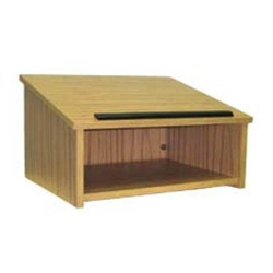 Portable Tabletop Lectern with Oak Finish
