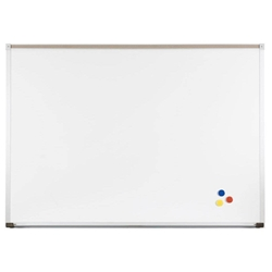10'W x 4'H Porcelain Steel Magnetic Whiteboard with Aluminum TrimTrayand Tackable Maprail