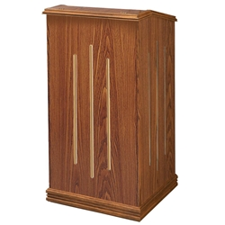 501 - The Premier Full Floor Lectern in Medium Oak Finish Oklahoma Sound,501Medium Oak