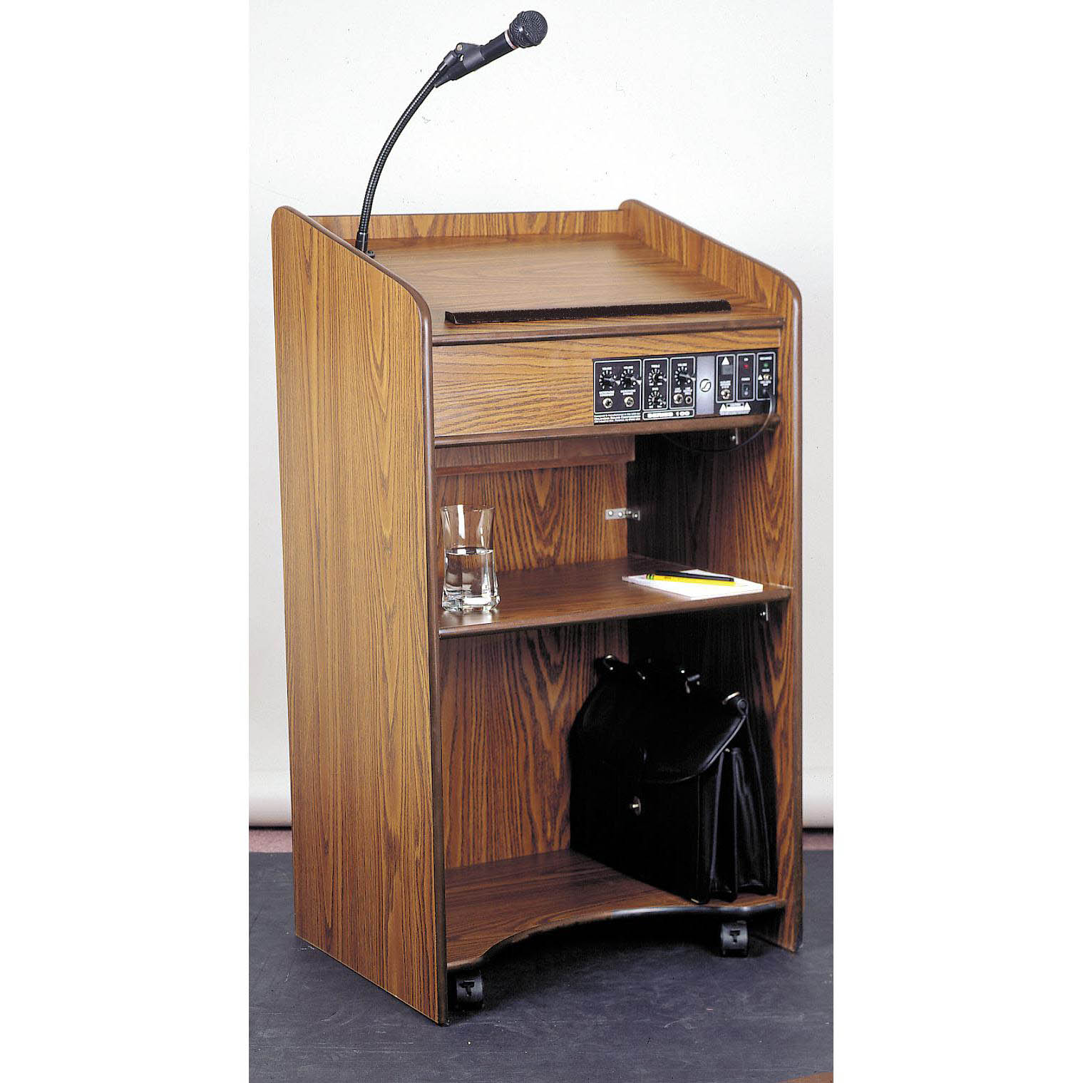 6010 - The Aristocrat Full Floor Lectern with Sound and 2 Shelves in Mahogany Finish - 6010-Mahogany
