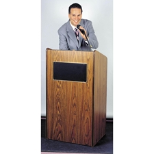 6010 - The Aristocrat Full Floor Lectern with Sound and 2 Shelves in Mahogany Finish Oklahoma Sound,6010Mahogany