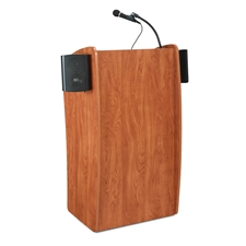 611S - Vision Series Full Floor Lectern with Sound System and 2 Shelves - Cherry