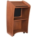Vision Series Full Floor Lectern with LCD Monitor, Sound and Wireless Tie Clip Mic - Cherry - 612S-CH/LWM-6