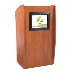 612 - Vision Series Full Floor Lectern with LCD Monitor and 2 Shelves - Cherry