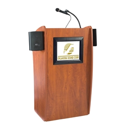 612S - Vision Series Full Floor Lectern with LCD Monitor and Sound System - Cherry