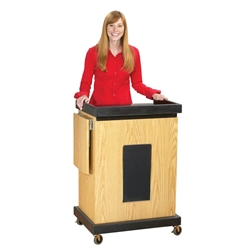 SCL-S - Smart Multimedia Cart/Lectern with Sound, 3 Inner Shelves, Locking Doors in Light Oak Oklahoma Sound,SCL-S,Smart Multimedia Cart