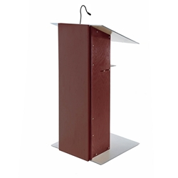 Urbann K2 Contemporary Mahogany Wood and Aluminum Full Floor Lectern with Shelf