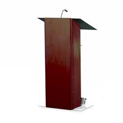 Urbann K2 Contemporary Mahogany Wood and Aluminum Full Floor Lectern with Shelf and Wheels