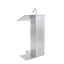 K1 Contemporary Aluminum Asymmetrical Full Floor Lectern with Shelf and Wheels