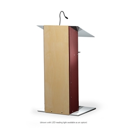 K2 Contemporary Mahogany Wood and Aluminum Full Floor Lectern with Shelf
