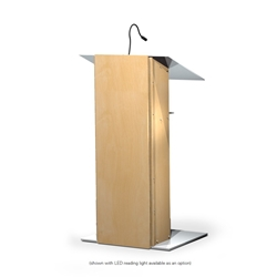 K2 Contemporary Natural Wood and Aluminum Full Floor Lectern with Shelf