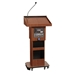 Amplivox Adjustable Height Executive Sound Column Full Floor Lectern with Mahogany Finish - S505A-MH