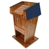Amplivox Patriot Plus Solid Hardwood Multimedia Lectern with Mahogany Finish/Blue Fabric