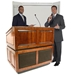 Amplivox Ambassador Solid Hardwood Multimedia Lectern with Sound and Walnut Finish - SS3035-WT