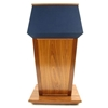 Amplivox Patriot Solid Hardwood Multimedia Lectern with Oak Finish/Blue Fabric