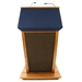 Amplivox Patriot Plus Solid Hardwood Multimedia Lectern with Sound and Cherry Finish/Blue Fabric - SS3045-CH-BlueFabric