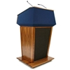 Amplivox Patriot Plus Solid Hardwood Multimedia Lectern with Wireless Sound and Oak Finish/Black Fabric