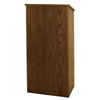 Amplivox One-Piece Full Height Floor Lectern with Shelf and Walnut Finish