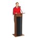 Power Plus Full Floor Lectern with Sound and Wireless Tie Clip Mic - Mahogany - 111PLS-MY/LWM-6
