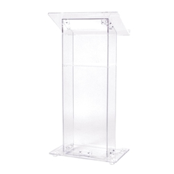 401S - Contemporary Clear Acrylic Full Floor Lectern with Internal Shelf Oklahoma Sound,401S,lecterns,podiums,Acrylic,Modern,Contemporary,lectern
