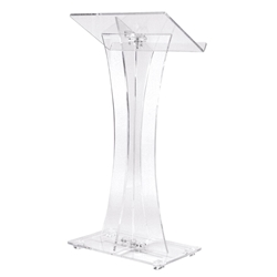 471- Contemporary Curved Style Acrylic Full Floor Lectern Oklahoma Sound,471,lectern,podium,Acrylic,Modern,Contemporary,lecterns